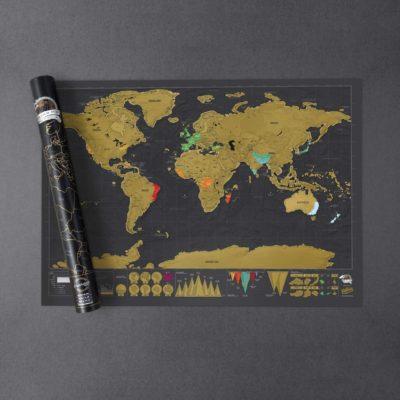 Carte du monde à gratter noir 82*59